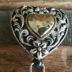 Jewelry - Western Heart Design ID Card Clip